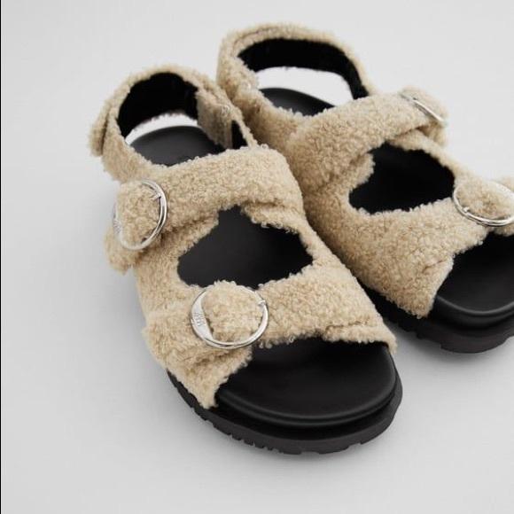 Zara Flat Faux Fur Buckle Sandals